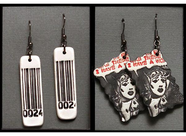 Two sets of handmade ceramic earrings, each containing images from contemporary pop culture.